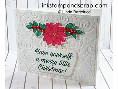 No Line Poinsettia Christmas Card