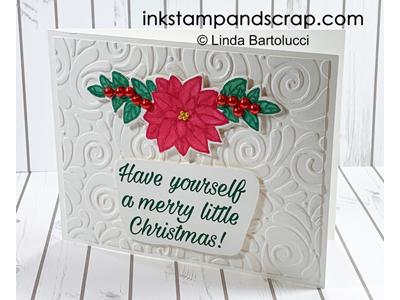 No Line Poinsettia Christmas Card
