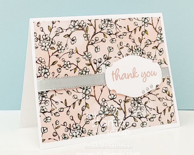 use designer series paper to make a quick thank you card